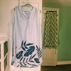 Blue tropical sheath dress XXX NWOT Merona